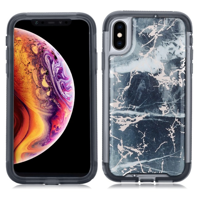iphone xr case with screen protector marble