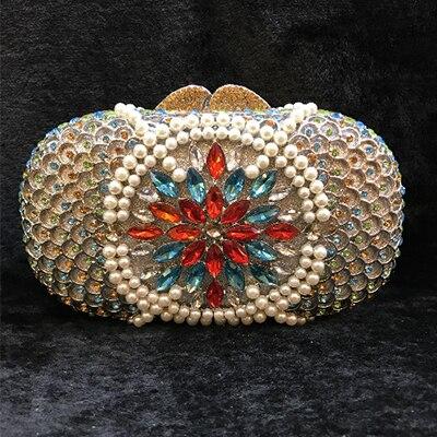 Cristal bleu Patchwork femmes boîte de nuit se marier mariée sac de soirée étui rigide en métal Minaudiere sac à main de mariage Cocktail pochette