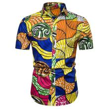 Hawaiian style Shirt Men Casual beach National Print Blouse Hip hop Short sleeve Mens shirts