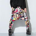 Cool Men`s Printed Harem Pants Marilyn Monroe Floral HipHop Streetwear Drop Crotch Dance Skateboard Trousers