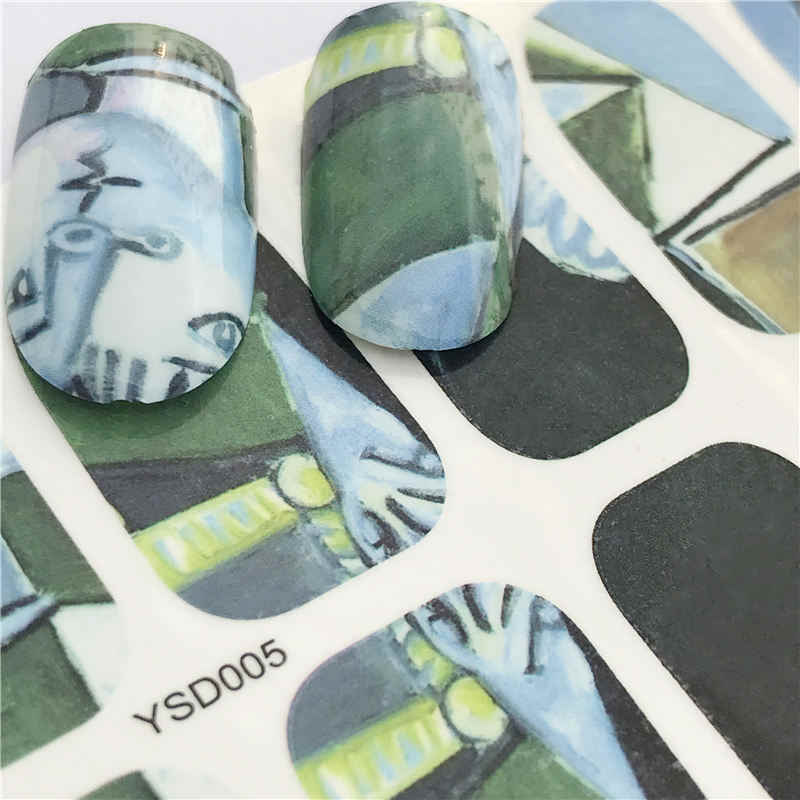 Yzwle 1 Lembar Besar Chry Bunga DIY Stiker Kuku Seni Transfer Air Transfer Stiker Aksesoris untuk Manicure Salon