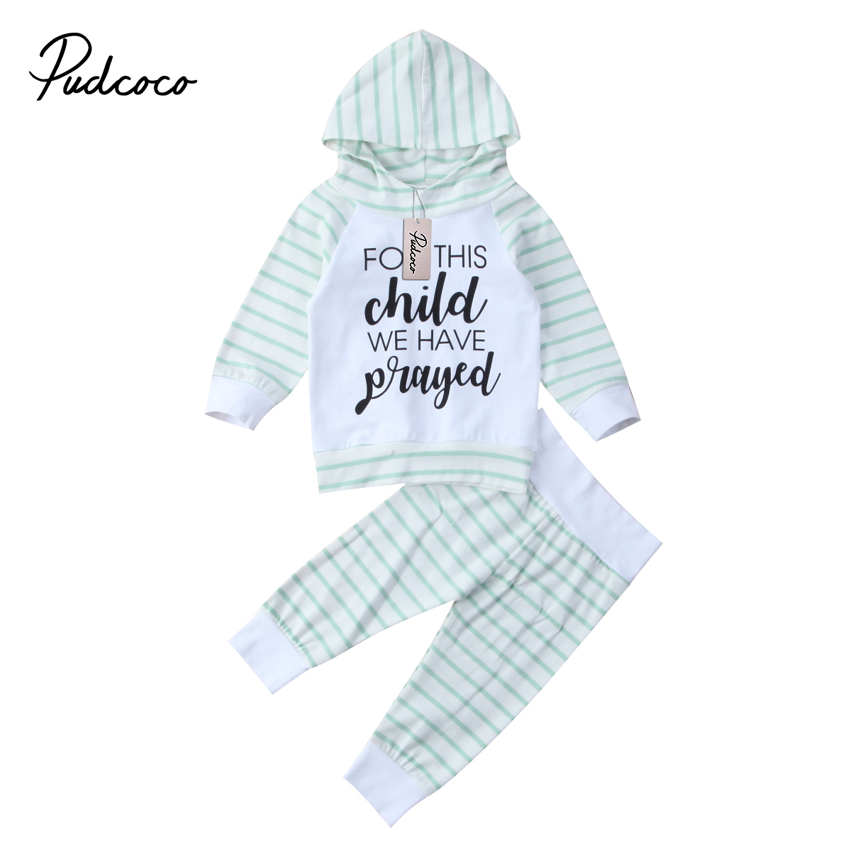 Pudcoco 2PCS Infant Baby Boy Girl Clothes O-Neck Letter Green Stripe Hooded Tops Hoodie+Pants Outfits Set 6-24Months Helen115