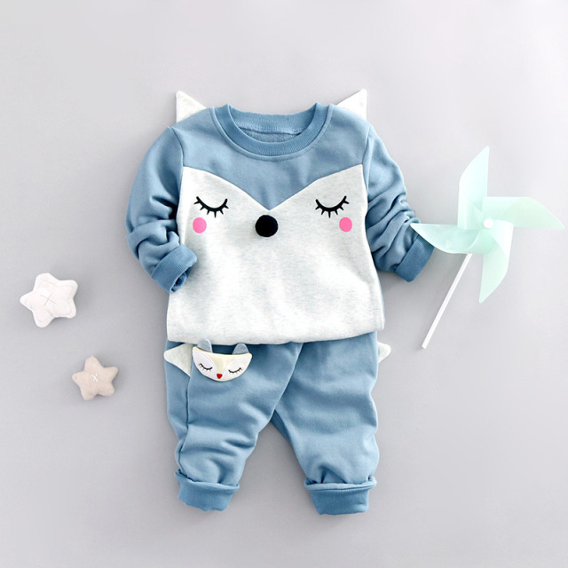 2017 Spring Baby Boys Clothes Sets Cartoon Fox Kids Clothes Cotton Suits For Children Costume Girls Long t shirt+Pants Vestidos