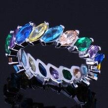Angelic Multigem Multicolor Brown Morganite 925 Sterling Silver Ring For Women V0120