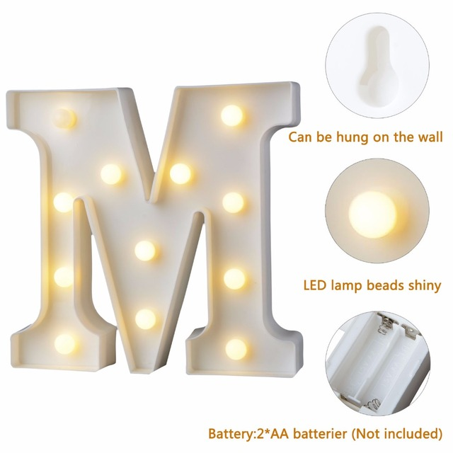 White Plastic Letter LED Night Light Marquee Sign Alphabet Lights Lamp Home Club Outdoor Indoor Party Wedding Home Decoration 4