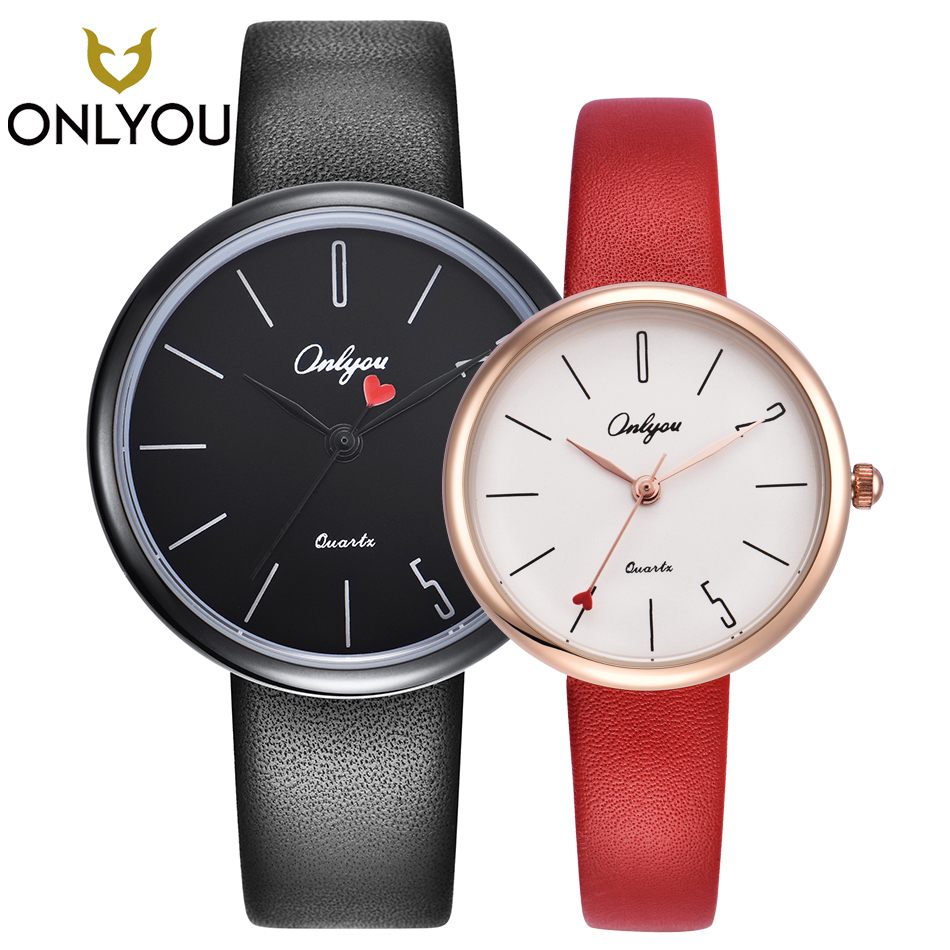 ONLYOU Lover Watch Couple Valentine's Gifts Top Brand Casual Men Quartz Leather Wristwatch Women Fashion Heart-shaped Clock Love fashion new personality black and white dial lover s quartz watch women top brand couple pu leather wristwatch reloj male clock