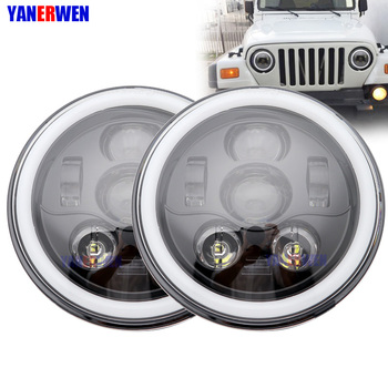 1Pair Car LED 7 Inch Round Headlight Conversion Kit For Beetle Classic Volkswagen 1950 -1979 For Jeep Wrangler Hummer DOT