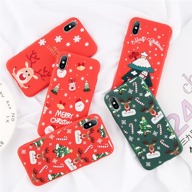 Moskado Merry Christmas Phone Case For iPhone XS XR MAX X 7 8 6 6S Plus 5 5S SE Cute Santa Claus Back Cover Shells