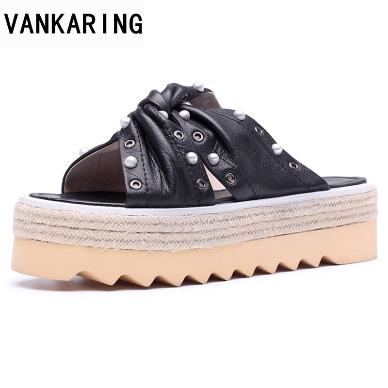VANKARING fashion platform slipper 2018 new summer women sandals wedges pearl high heels sandals sweet dress party woman shoes new women sandals low heel wedges summer casual single shoes woman sandal fashion soft sandals free shipping