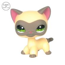 Rare pet shop toys Cat Cream Grey Short Hair kitty 1116 Original Birthday Gift For Girls