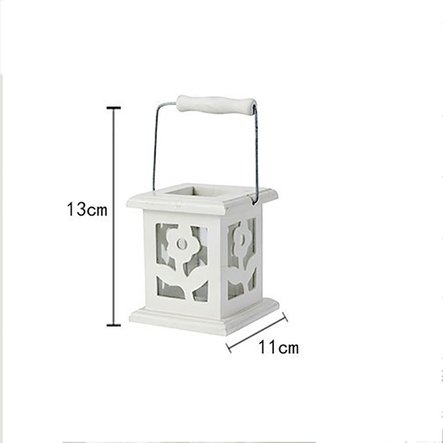 European Garden White Flowers Wooden Candlesticks Romantic Wedding Gifts Christmas Gift Candle Lantern Holder Weeding Decoration