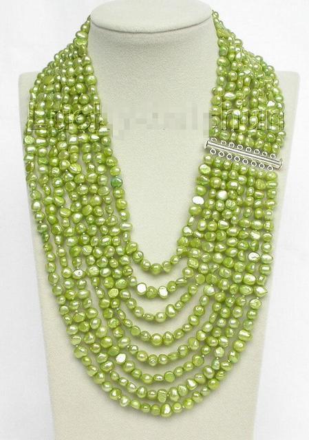 "Venda Hot new Style >>>>> 17 ""-24"" 8row barroco pérolas colar 925 fecho de prata luz verde j8750"