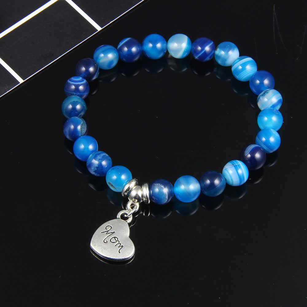 I «Love You Mom» браслет из бисера для женщин 2019 новые ювелирные изделия для мамы натуральный красивый браслет с камнями подарок на день матери Семейный Браслет-четки
