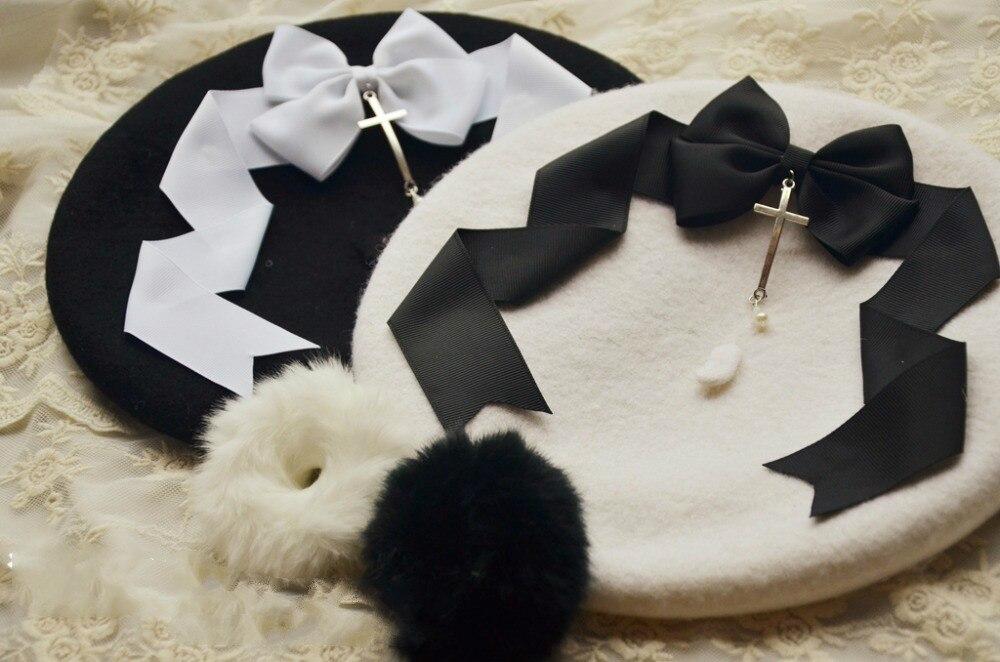 Prinzessin Sweet Lolita Beret baskenmütze Schwarz-weiß Lolita Kleid Knospe Tränen Querkappe Ray Limpets Mht006 Einfach Zu Verwenden