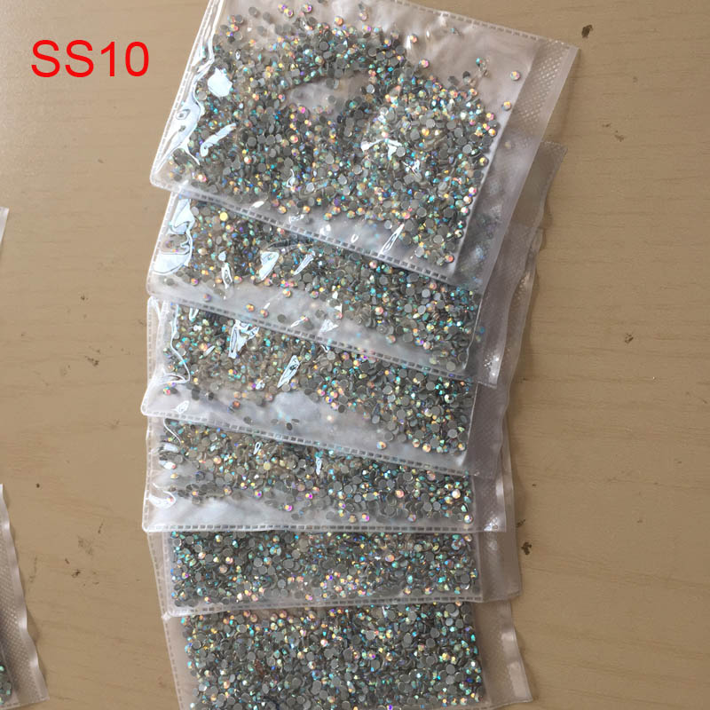 6bags/lot Clear AB SS10 Crystal DMC Hot fix Rhinestones crystal hotfix Rhinestone with glue for bags shoes dress accessaries