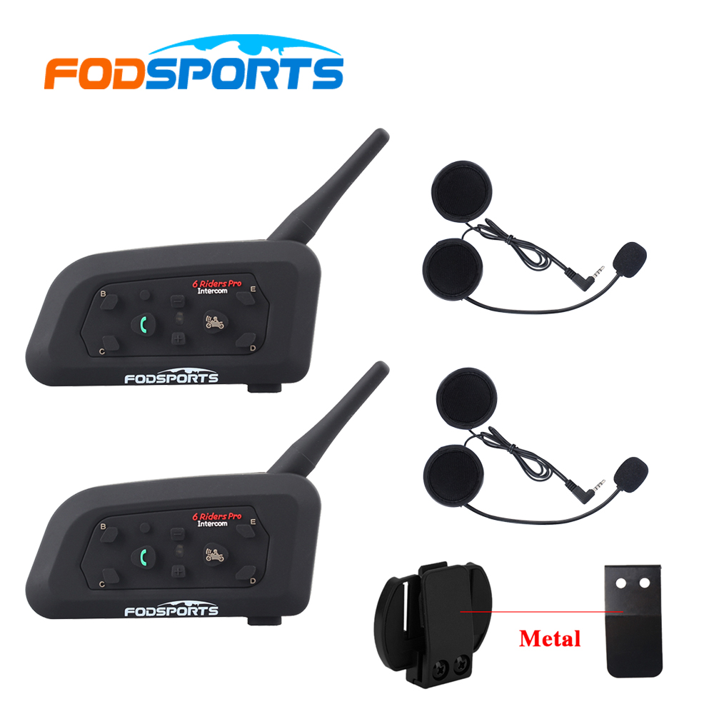 2 stk V6 Pro Multi BT Interphone 1200M Motorsykkel Bluetooth Hjelm Intercom Intercomunicador Moto Interfones Hodesett til 6 Rider