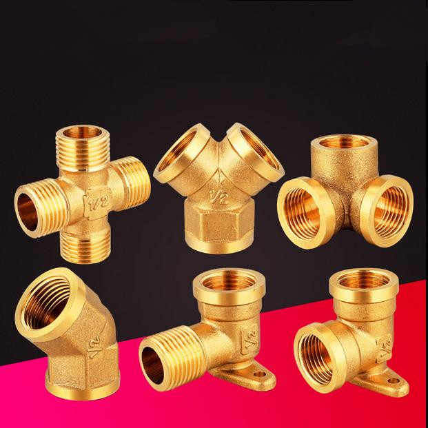 "Cross Angle 45 degrees of  copper BSP 1/2"" (Male Female)  thread 4 way with the base tube pipe fittings  Hose adapter"