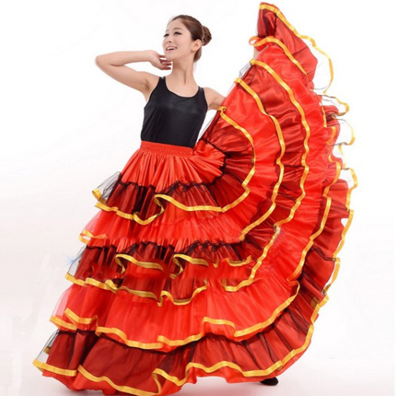 bd1347b03171 flamenco skirt Ladies Spanish Flamenco Fancy Dress Dance Skirt Senorita  Rumba Salsa Costume/Flamenco dress/Skirt ...
