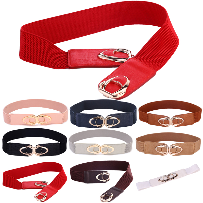 Women's Cinch Belt Elastic Stretch Fashion Waist Band With Clasp Alloy Buckle 70cm-145cm Wide Belts For Women
