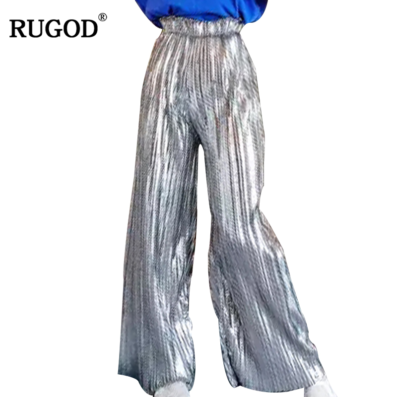 RUGOD 2018 Newest Sequined Golden Silver Pleated   Pants   High Waist   Wide     Leg     Pants   Women Casual Elastic Waist Long   Pants   Trousers