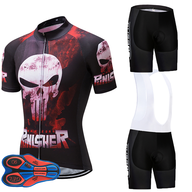 2019 The Punisher Pro Team Red Cycling Jerseys Set MTB clothing bib Short shirt Ropa Ciclismo Bike Wear Maillot Culotte 9D gel2019 The Punisher Pro Team Red Cycling Jerseys Set MTB clothing bib Short shirt Ropa Ciclismo Bike Wear Maillot Culotte 9D gel