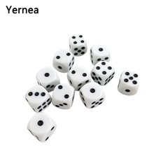 Yernea High-quality 30Pcs/Lot 16mm Dice Set White Black Point Drinking Acrylic Round Corner D6 Points Club Party