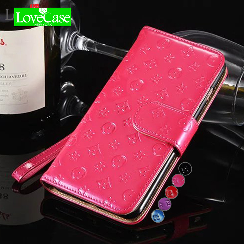 LoveCase Bright stylish face for iPhone7 mobile wallet holster for iPhone6 6s 7 8 plus Clamshell mobile phone cover case