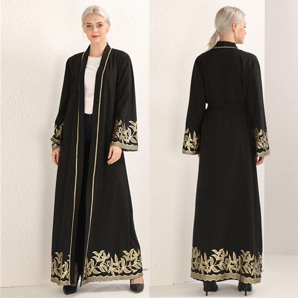 Elegant Muslim Print Abaya Maxi Dress Cardigan Swing Long Robe Gowns Belt Tunic Middle East Ramadan Dubai Arab Islamic Prayer