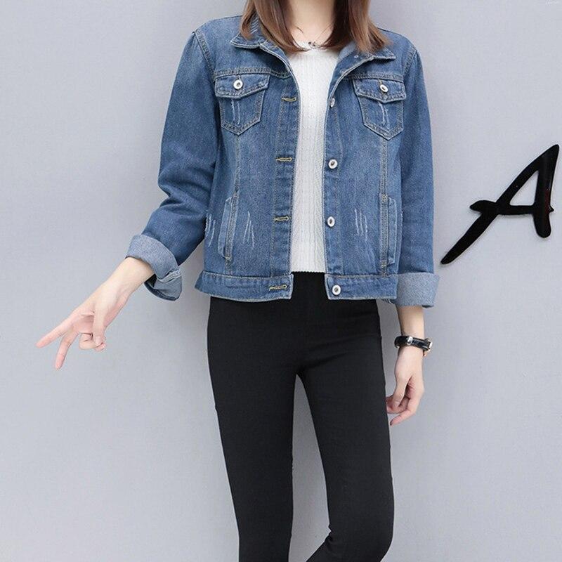New High Quality Women Denim   Jacket   Autumn   Basic   Coat Denim   Jackets   Women Coat 2019 Hot Sale Loose Fit Casual Style Slim