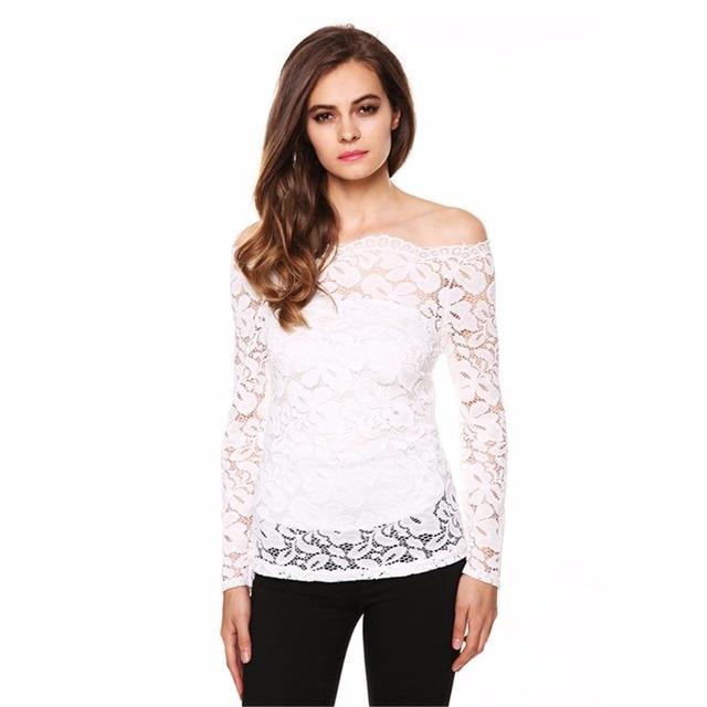 a4db8b0bd10295 Sexy Transparent chiffon lace blouse off shoulder top feminine black white long  sleeve shirt women Slash