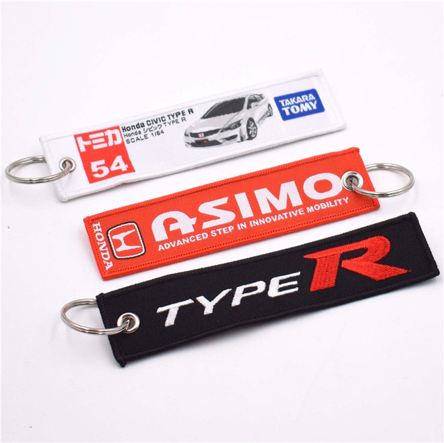 US $12 24 5% OFF 10pcs Asimo Type R Racing Key Ring Embroidery Keychain  Luggage Tag for Honda Motorcycles and Cars Key Tag-in Key Rings from