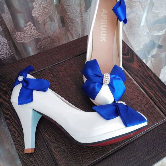 Plus Size 41 42 Blue Bow Wedding Shoes Bride Satin Butterfly Knot