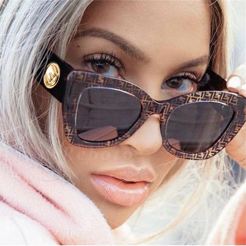 De moda de las mujeres de ojo de gato mujer gafas de sol 2019 nueva moda gran marco de ojo de gato femenino gafas Vintage gafas de sol negras gruesa señoras