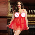 Chiffon Lace see through red babydoll plus size XXXL dress+g string lingerie babydoll draping mesh night sleepwear H00016