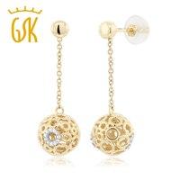 GemStoneKing 10 K Amarelo Ouro Branco Com Diamantes 1 Polegada Rosca das Mulheres Oscila Brincos Bola (0.099 cttw, IJ Cor, I1-I2 Clarity)