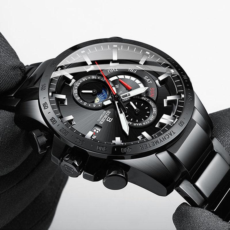 Switzerland Men Fashion Automatic Mechanical Watch Waterproof 50M Luminous Auto Date Week Moon Phase Watches Men