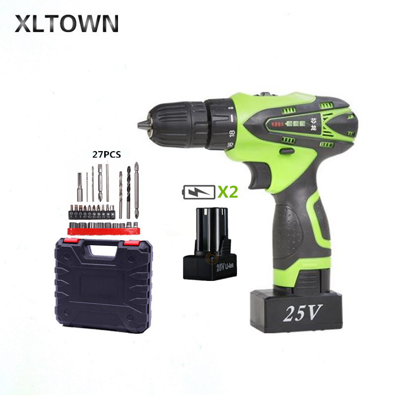 XLTOWN 25V Electric Drill with 2 battery rechargeable Lithium Battery multi-function Electric Screwdriver Household Hand tools xltown 25v hand drill rechargeable lithium battery multi function electric screwdriver with a box household power tools drill