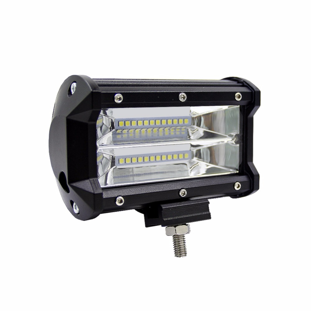 1Pcs 72/36W 5Inch Flood Cree LED Light Bar 3 Rows Offroad Pods Lights Driving Lamp Work Light Bulb Fog Lights for Truck