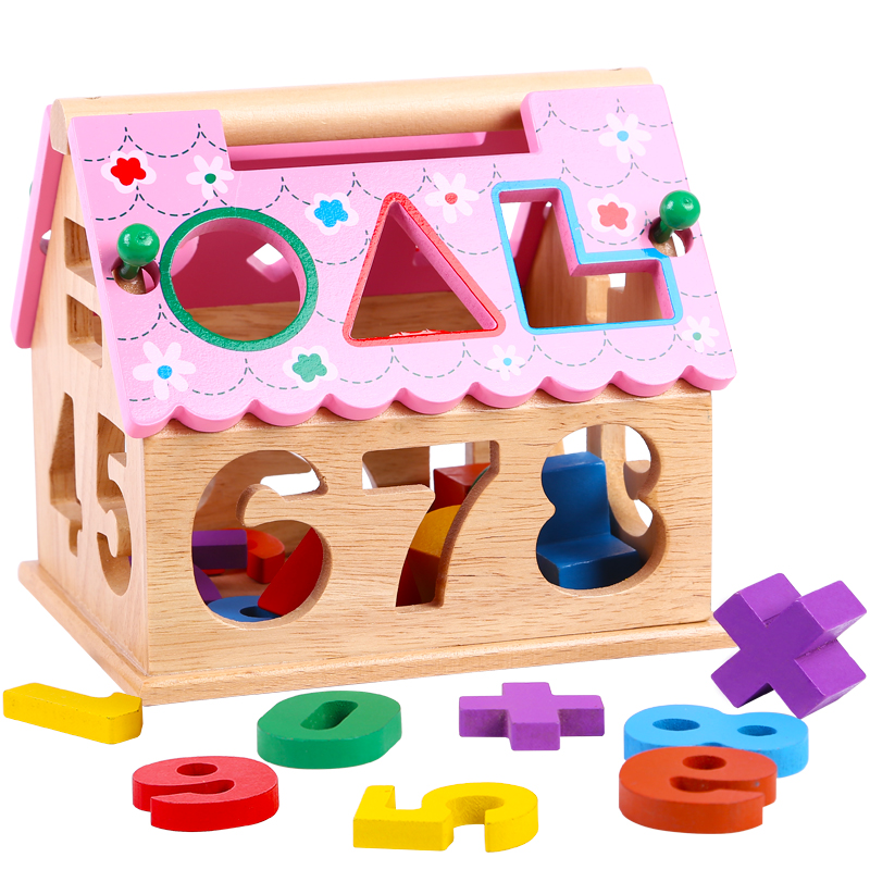 Wooden Children Puzzle Toys Digital Number House Building Blocks Educational Learning Intellectual Toys For Children and Baby