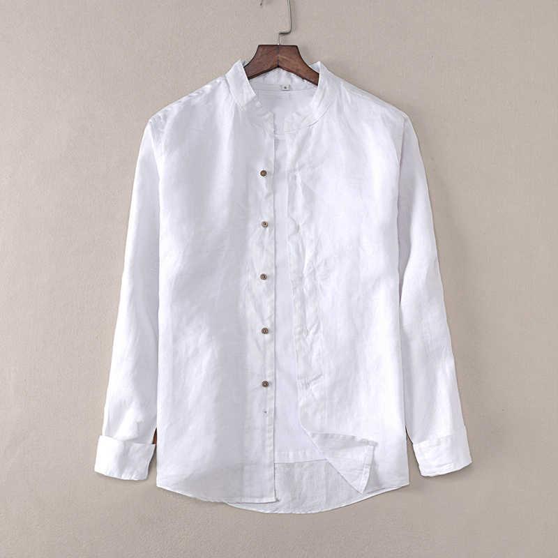 d7c8e9bf61d ... Новая Стильная дизайнерская льняная рубашка с длинными рукавами