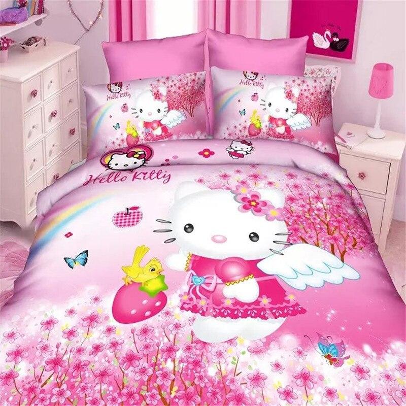 Popular 3d Hello Kitty Girls Bedding Set 2/3pcs Twin/single Size Duvet  Cover Bed Sheet Pillow Case Bed Linen Set/pink