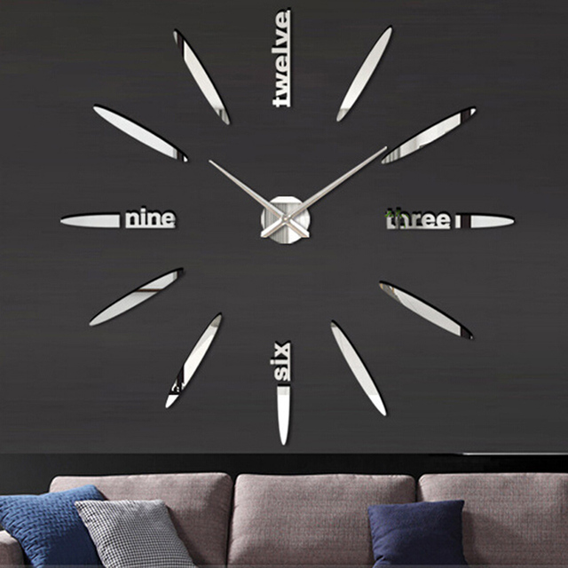 Quartz DIY Modern Clocks Needle Acrylic Watches Big Wall Clock Mirror Sticker Living Room Decor