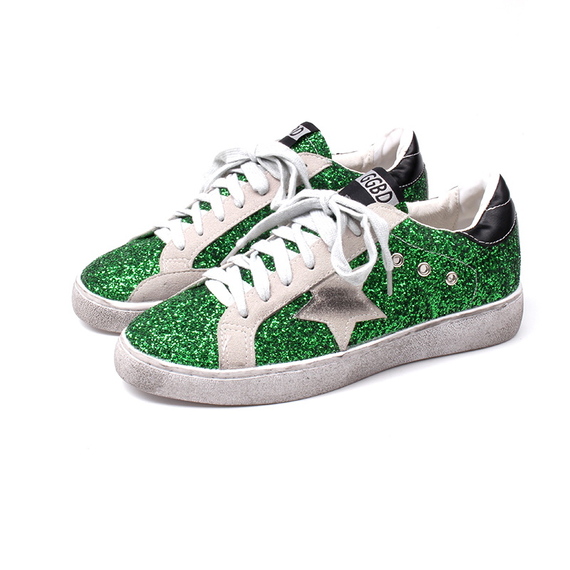 Detail Feedback Questions about Women Casual Shoes Glitter Leather Do Old  Dirty Vulcanize rettro sneakers flats all color Sequins Star Golden Fleeces  ... 67d03d9eb397