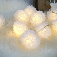 Battery Operated Novelty White Lace Ball Fairy String Lights 3M Fashion Holiday Lighting Wedding Party Xmas