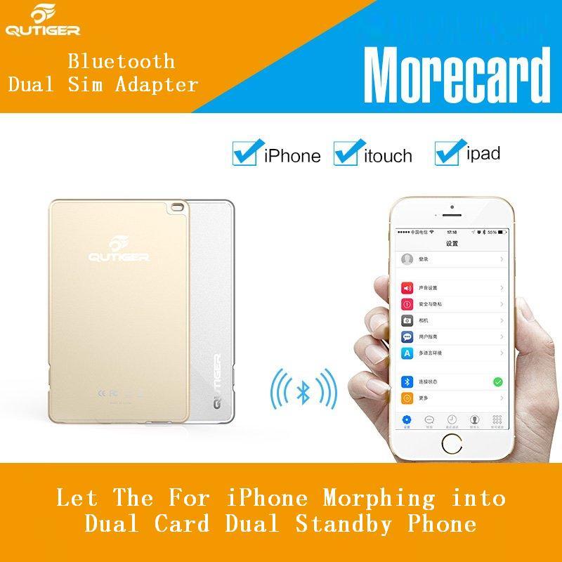 Оригинальный Qutiger 4 мм Bluetooth Две Нано Sim карты адаптера BT4.0 Dual Sim двойной резервный сим-адаптер для iPhone IOS для iPad iTouch