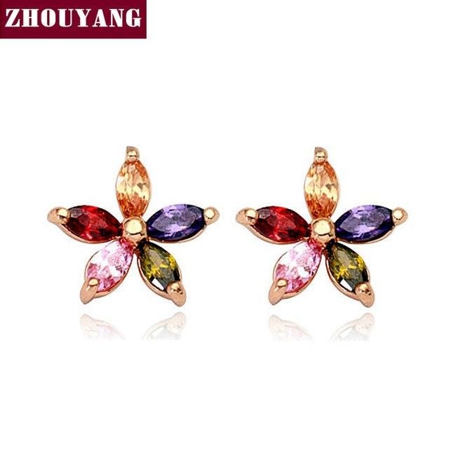 ZHOUYANG ZYE007 Multicolour Wintersweet Rose Gold Color Stud Earrings Genuine Austrian Crystal Wholesale