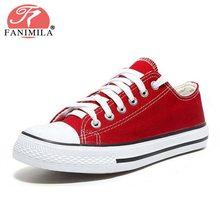 Купить с кэшбэком FANIMILA Fashion Club 5 Colors Daily Vulcanized Shoes Women Teens Outdoor Round Toe Flat Casual Shoes School Leisure Size 35-40