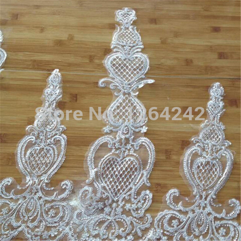 Delicate 9yards 650mm ivory Fabric Flower Venise Venice Lace Trim Applique Sewing Craft LW0038