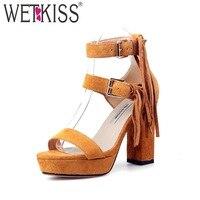 WETKISS Ankle Strap High Heels Women Sandals Open Toe Cow Suede Tassel Square Heels Footwear 2018