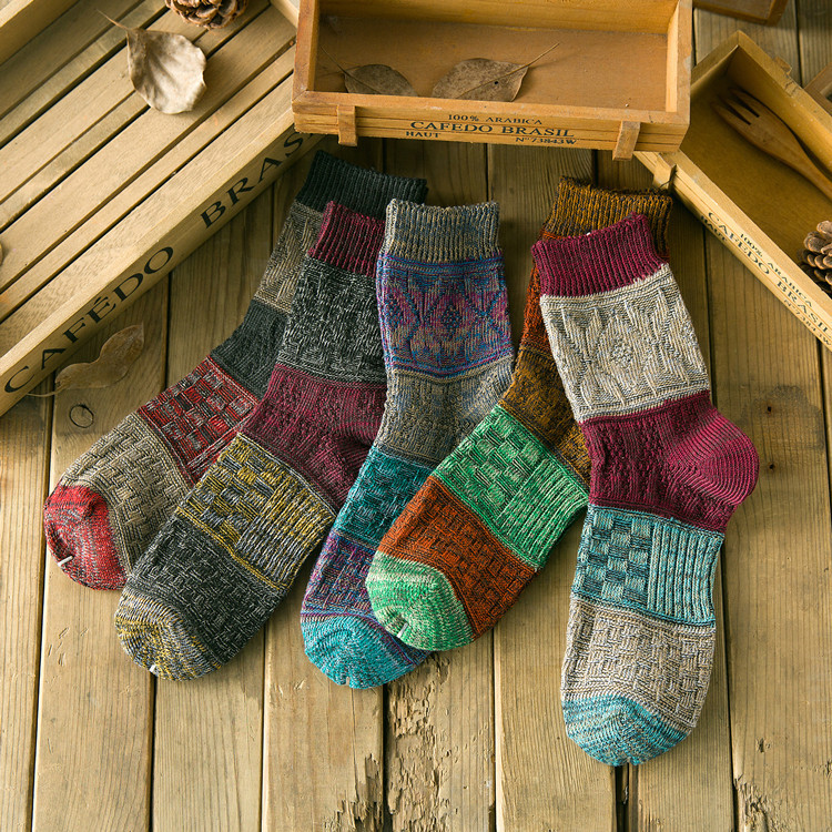 Harajuku Spring Autumn Thick Thread Color Matching Jacquard Men's Socks Middle Length Casual Socks Men Cotton Sock